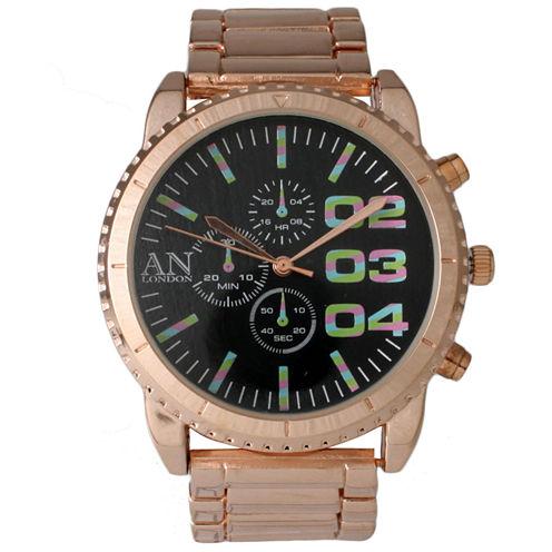 Olivia Pratt Mens Black Dial Rose Gold Bracelet Watch 2197Grosemulti