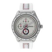 Mens Geneva Silver-Tone Dial Strap Watch 33573