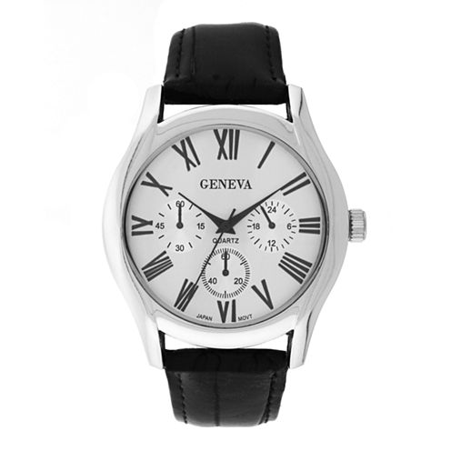 Mens Geneva Silver-Tone Black Strap Watch 33577