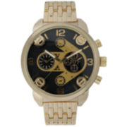 Olivia Pratt Mens Gold & Black Two Tone Dial Goldtone Bracelet Watch 15276Gold