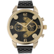 Olivia Pratt Mens Gold Bezel Two Tone Dial Black Bracelet Watch 15276Gold & Black