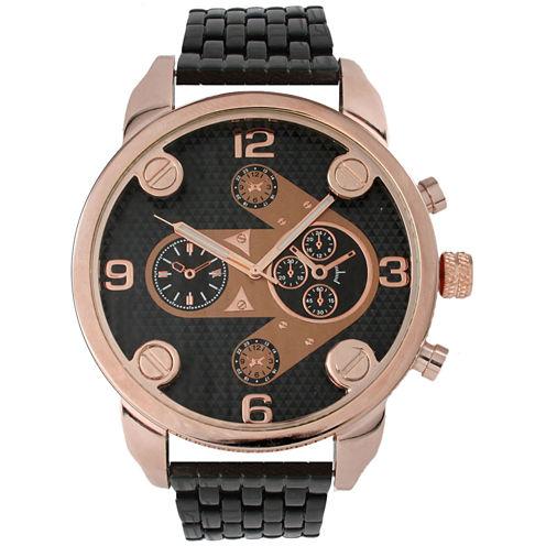 Olivia Pratt Mens Rose Gold Bezel Two Tone Dial Black Bracelet Watch 15276Rose Black