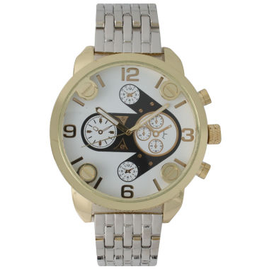 jcpenney.com | Olivia Pratt Mens Gold Bezel Silver Bracelet Watch 15276Gold & Silver Two Tone