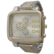 Olivia Pratt Mens Rectangular Gold Bezel Two Tone Bracelet Watch 15277Gold And Silver Two Tone