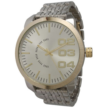 jcpenney.com | Olivia Pratt Mens Gold Bezel Two Tone Basket Link Bracelet Watch 15278Gold Silver Two Tone