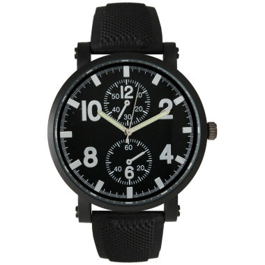 jcpenney.com | Olivia Pratt Mens Silver And Black Silicone Watch 26525Silver