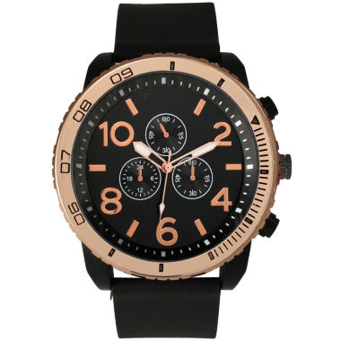 jcpenney.com | Olivia Pratt Mens Decorative Tachymeter Black Silicone Watch 13586Browngold