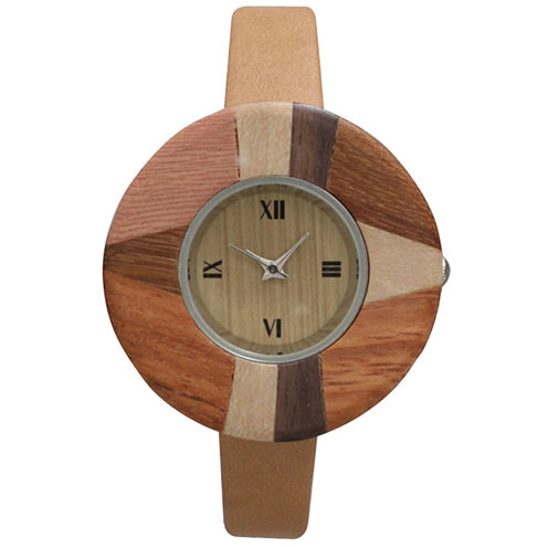 Olivia Pratt Faux Wood Bezel Beige Abstract Petite Leather Watch 26265Wbeige Abstract