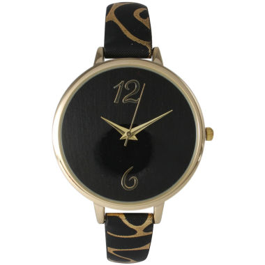 jcpenney.com | Olivia Pratt Womens Cheetah Print Black Petite Leather Watch 26356Black