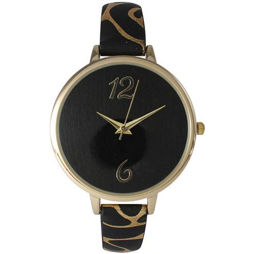 Olivia Pratt Womens Cheetah Print Black Petite Leather Watch 26356Black