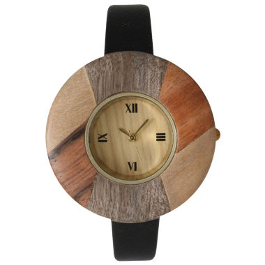 jcpenney.com | Olivia Pratt Faux Wood Bezel Black Petite Leather Watch 26265Wblack