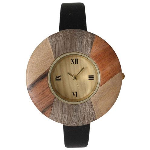 Olivia Pratt Faux Wood Bezel Black Petite Leather Watch 26265Wblack