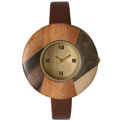 Olivia Pratt Faux Wood Bezel Dark Brown Petite Leather Watch 26265Wdark Brown