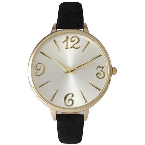 Olivia Pratt Womens Goldtone Bezel Silvertone Dial Black Petite Leather Watch 26357Black