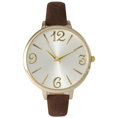 jcpenney.com | Olivia Pratt Womens Goldtone Bezel Silvertone Dial Brown Petite Leather Watch 26357Brown