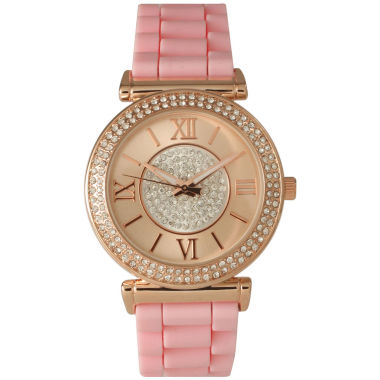 jcpenney.com | Olivia Pratt Womens Rhinestone Bezel Goldtone And Rhinestone Dial Light Pink Silicone Watch 40034Light Pink