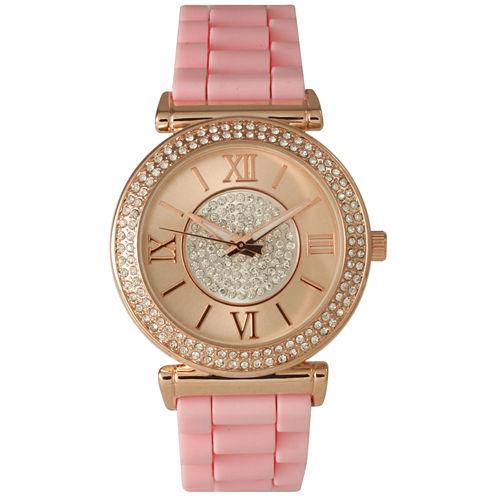 Olivia Pratt Womens Rhinestone Bezel Goldtone And Rhinestone Dial Light Pink Silicone Watch 40034Light Pink