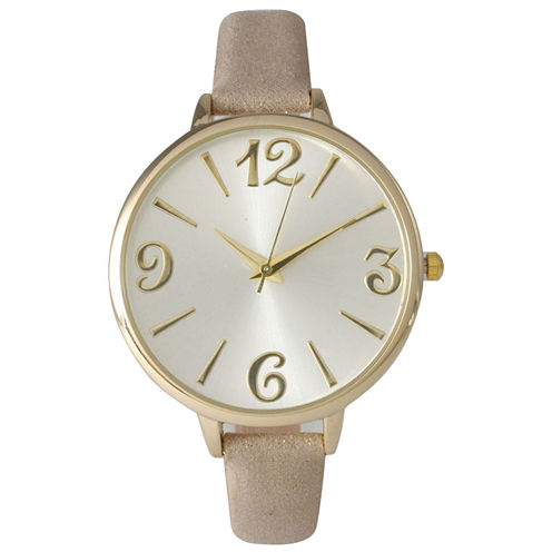 Olivia Pratt Womens Goldtone Bezel Silvertone Dial Gold Petite Leather Watch 26357Gold
