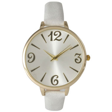 jcpenney.com | Olivia Pratt Womens Goldtone Bezel Silvertone Dial White Petite Leather Watch 26357White