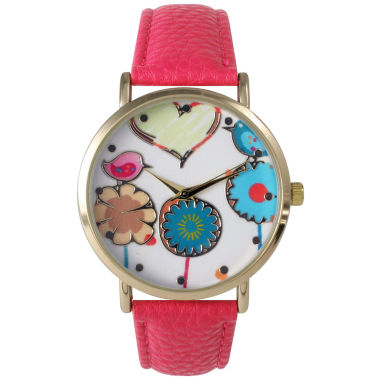 jcpenney.com | Olivia Pratt Womens Multicolor Heart, Birds And Flowers Dial Hot Pink Leather Watch 26362Hot Pink