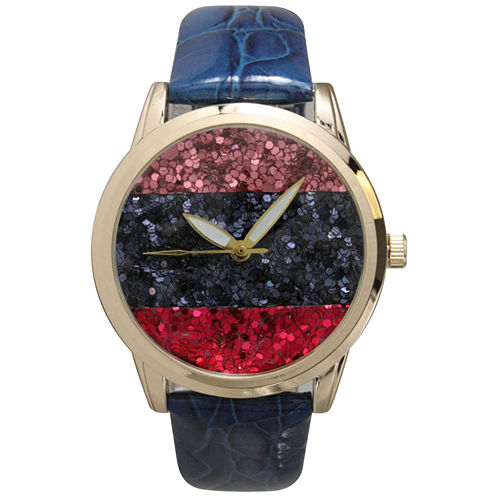 Olivia Pratt Womens Horizontal Multi-Colored Stone Dial Navy Leather Watch 26637Navy