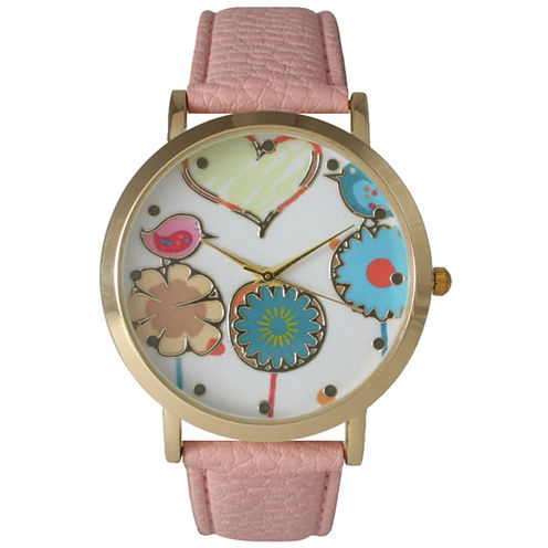 Olivia Pratt Womens Multicolor Heart, Birds And Flowers Dial Light Pink Leather Watch 26362Light Pink