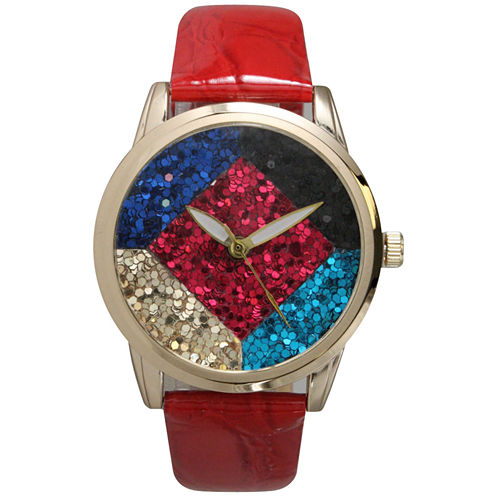 Olivia Pratt Womens Geometric Multi-Colored Stone Dial Red Leather Watch 26664Red