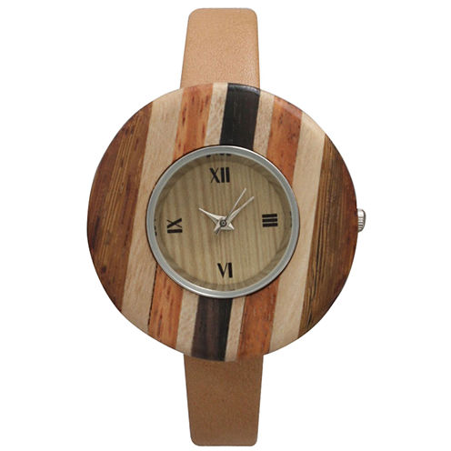 Olivia Pratt Faux Wood Bezel Beige Stripe Petite Leather Watch 26265Wbeige Stripe