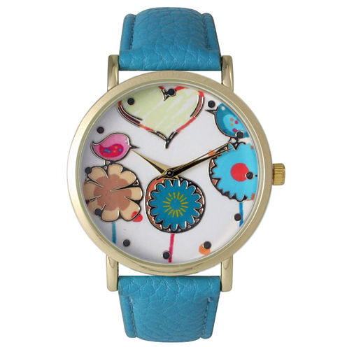 Olivia Pratt Womens Multicolor Heart, Birds And Flowers Dial Turquoise Leather Watch 26362Turquoise