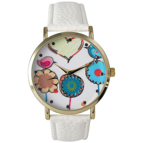 Olivia Pratt Womens Multicolor Heart, Birds And Flowers Dial White Leather Watch 26362White
