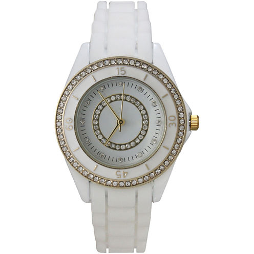 Olivia Pratt Womens Rhinestone Bezel Rhinestone Dial White Silicone Watch 40036White