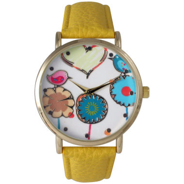 jcpenney.com | Olivia Pratt Womens Multicolor Heart, Birds And Flowers Dial Yellow Leather Watch 26362Yellow