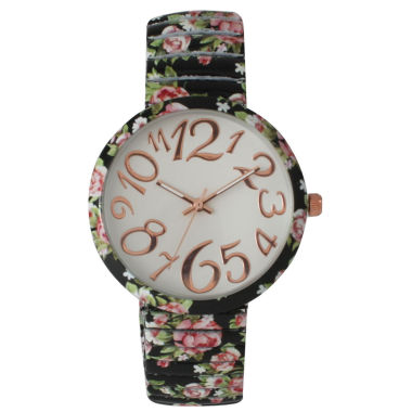 jcpenney.com | Olivia Pratt Womens Black Pink Roses Floral Expansion Band Watch 25975Black Pink Roses