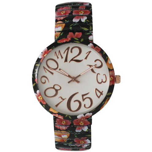 Olivia Pratt Womens Black Red Orange Floral Expansion Band Watch 25975Black Red Orange