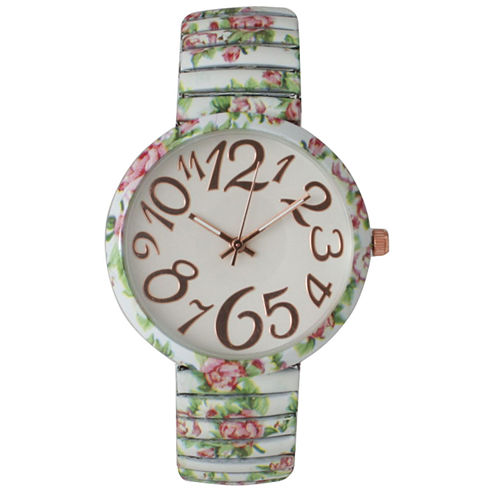 Olivia Pratt Womens Dainty White Pink Green Floral Expansion Band Watch 25975Dainty White Pink Green