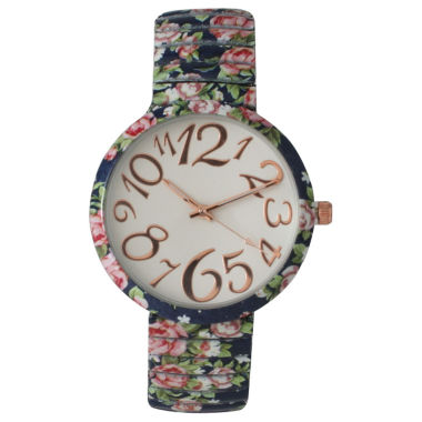 jcpenney.com | Olivia Pratt Womens Navy Floral Expansion Band Watch 25975Navy