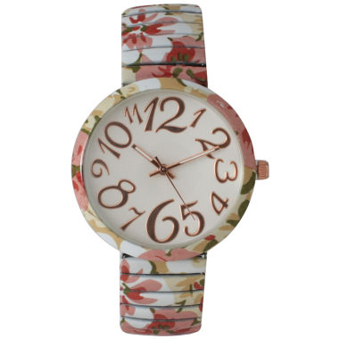 jcpenney.com | Olivia Pratt Womens Pastel Pink Green Floral Expansion Band Watch 25975Pastel Pink Green