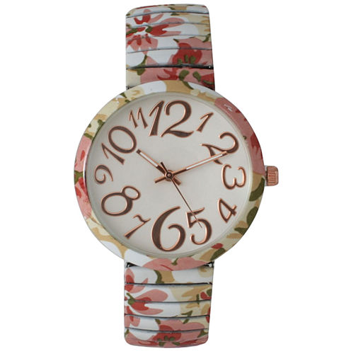 Olivia Pratt Womens Pastel Pink Green Floral Expansion Band Watch 25975Pastel Pink Green