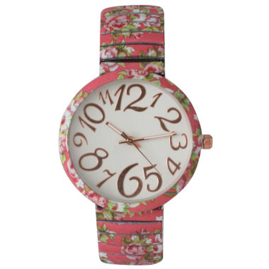 jcpenney.com | Olivia Pratt Womens Pink Floral Expansion Band Watch 25975Pink