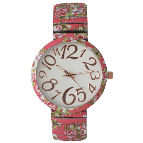 Olivia Pratt Womens Pink Floral Expansion Band Watch 25975Pink