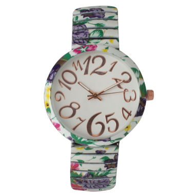 jcpenney.com | Olivia Pratt Womens White Green Purple Floral Expansion Band Watch 25975White Green Purple
