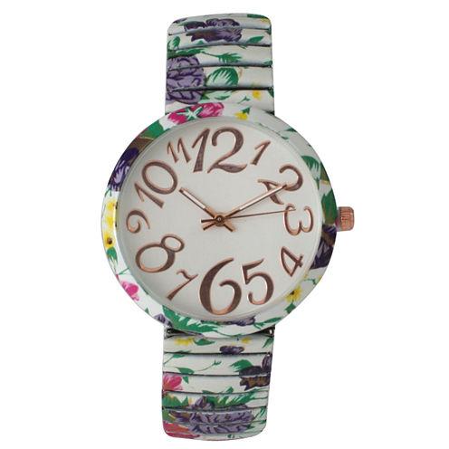 Olivia Pratt Womens White Green Purple Floral Expansion Band Watch 25975White Green Purple