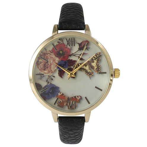 Olivia Pratt Womens Gold-Tone Butterfly and Flowers Print Dial with Black Leather Strap Watch 14962