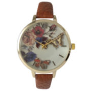 Olivia Pratt Womens Gold-Tone Butterfly And Flowers Print Dial Brown Leather Strap Watch 14962