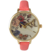 Olivia Pratt Womens Gold-Tone Butterfly And Flowers Print Dial Coral Leather Strap Watch 14962