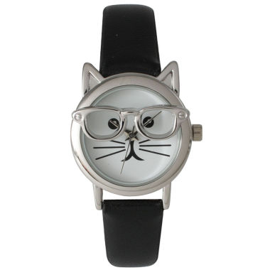 jcpenney.com | Olivia Pratt Womens Silver-Tone Ears And Glasses White Cat Face Print Dial Black Faux Leather Strap Watch 15097