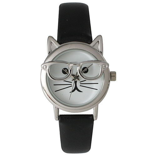 Olivia Pratt Womens Silver-Tone Ears And Glasses White Cat Face Print Dial Black Faux Leather Strap Watch 15097
