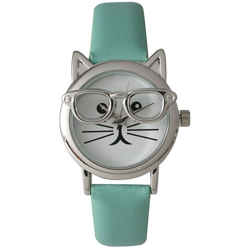 Olivia Pratt Womens Silver-Tone Ears And Glasses White Cat Face Print Dial Mint Faux Leather Strap Watch 15097