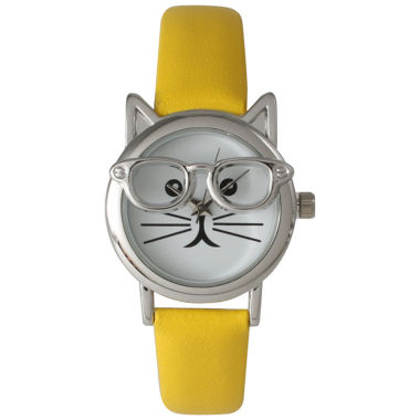 jcpenney.com | Olivia Pratt Womens Silver-Tone Ears And Glasses White Cat Face Print Dial Yellow Faux Leather Strap Watch 15097