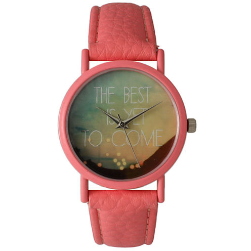 "Olivia Pratt Womens Coral ""The Best Is Yet To Come"" Multi-Color Dial Coral Leather Strap Watch 15117"